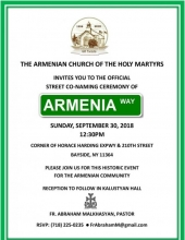 """Armenia Way"" Street Co-naming"