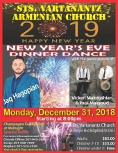 Sts. Vartanantz Armenian Church of NJ, 2019 New Year's Eve Dinner Dance!