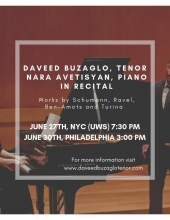 Daveed Buzaglo (tenor) and Nara Avetisyan (piano) in Recital in New York City