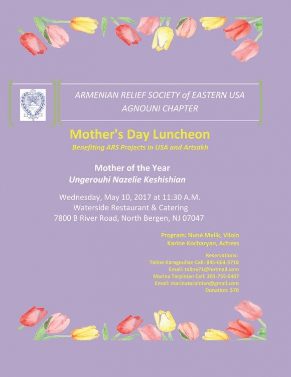 Armenian Relief Society of Eastern USA Agnouni Chapter: Mother's Day Luncheon