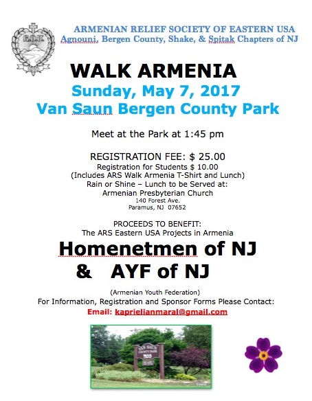 """Walk Armenia"" walkathon organized by ARS of Eastern USA"