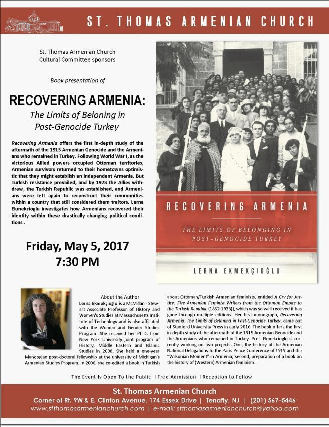 "Book presentation of ""Recovering Armenia: The Limits of Belonging in Post-Genocide Turkey"""