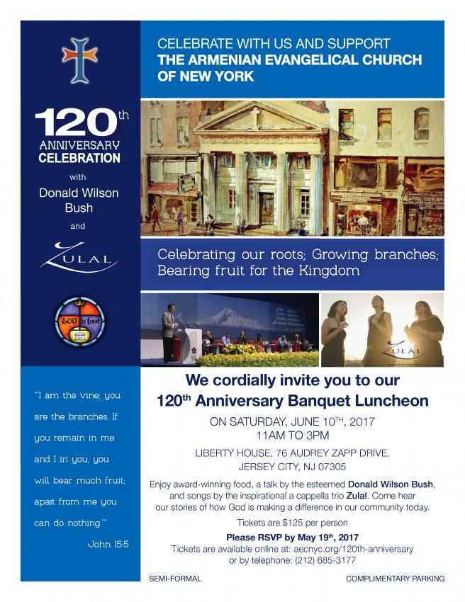 120th Anniversary Banquet Luncheon of Armenian Evangelical Church of New York