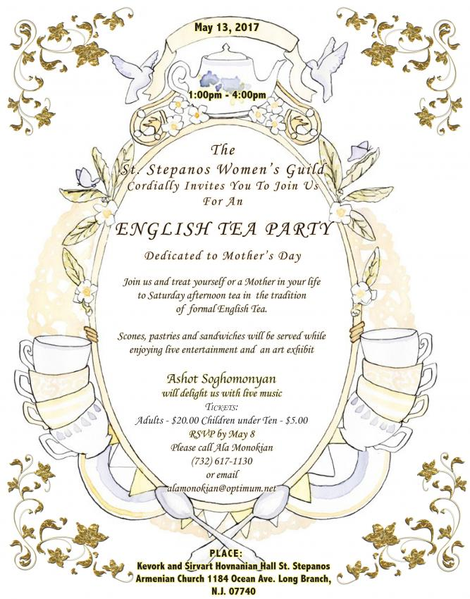 "Mother's Day ""English Tea"" Hosted by St. Stepanos Church Women's Guild"