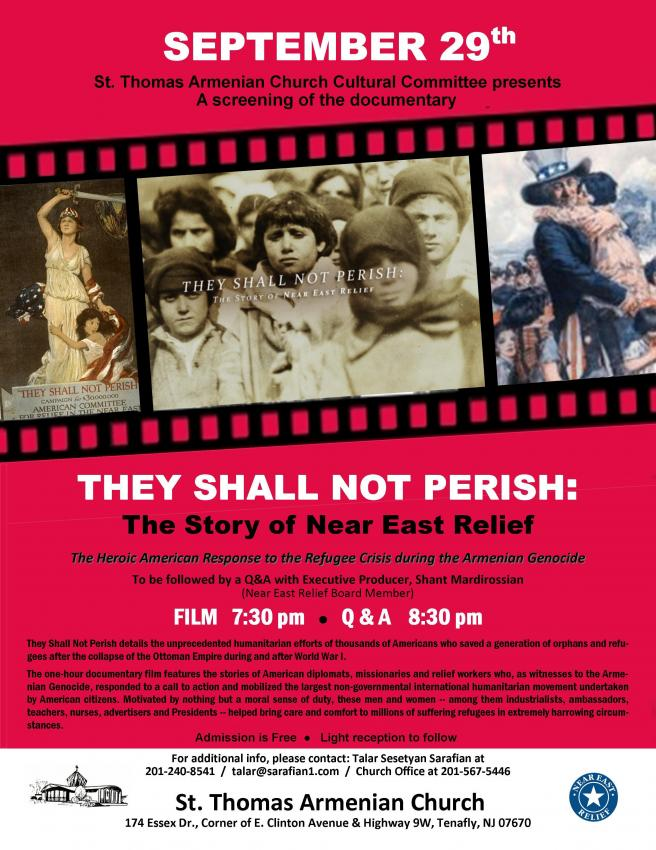 "Movie Screening of ""They Shall Not Perish: The Story of Near East Relief"""