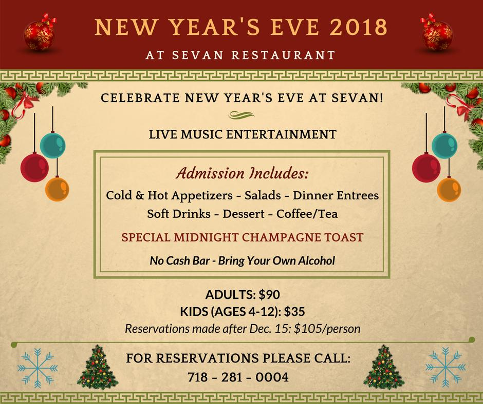 New Year's Eve 2018 at Sevan Restaurant