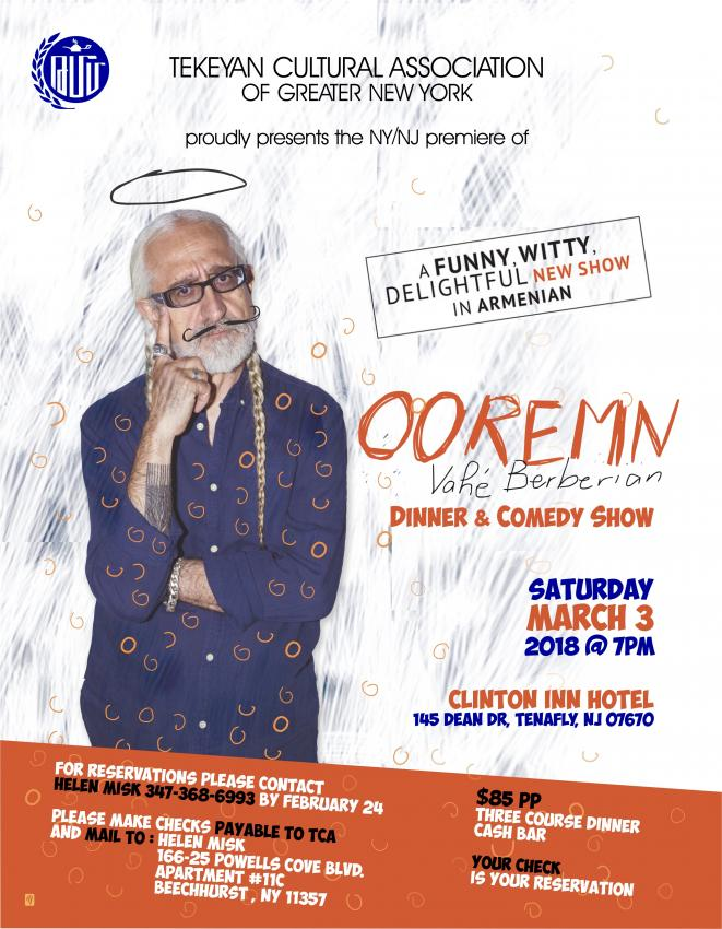 "A Funny, Witty, Delightful New Show  ""OOREMN"" with Vahe Berberian"