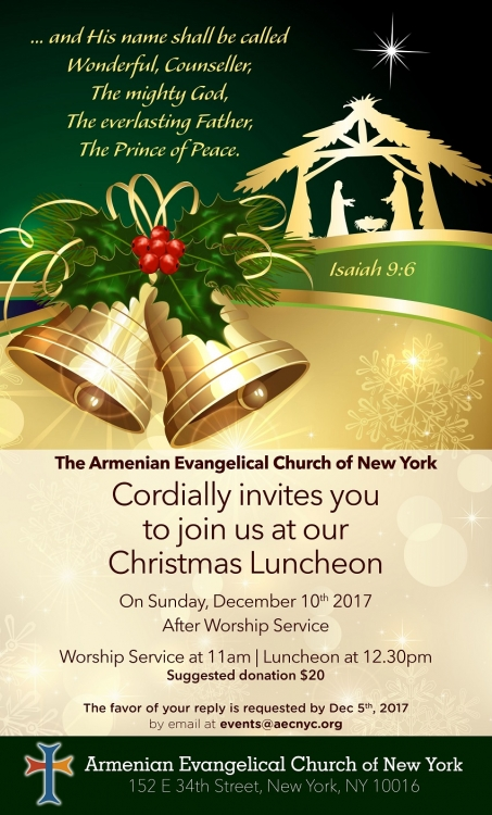 You are Cordially Invited to a Christmas Lunch at AECNYC