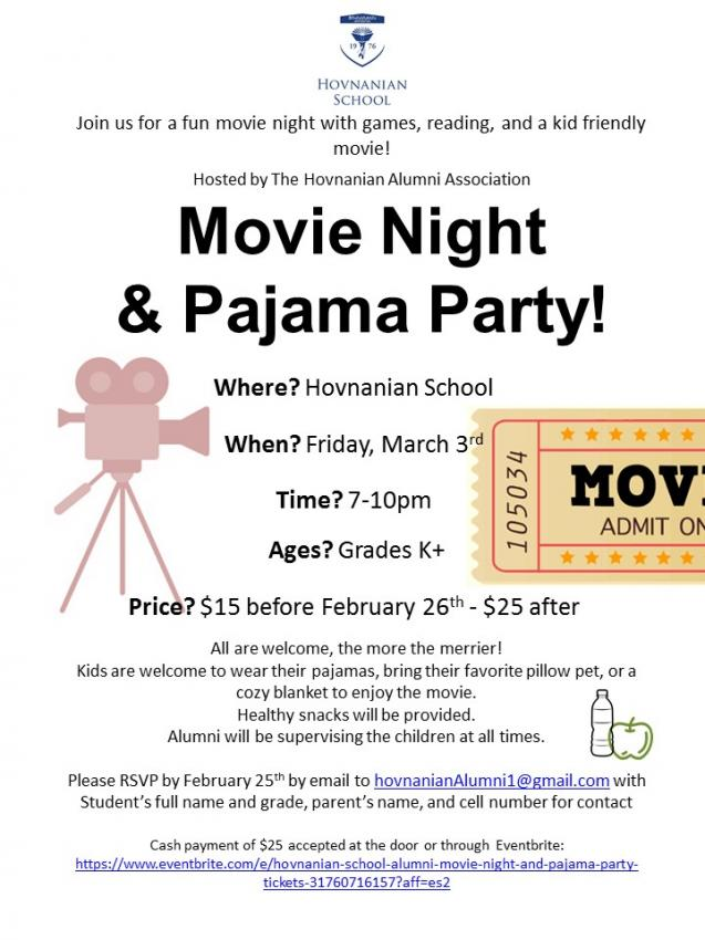 Hovnanian School Alumni Association Movie Night & Pajama Party!
