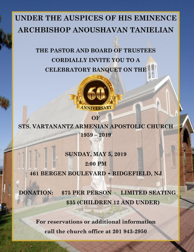 60th Anniversary of St. Vartanantz Armenian Apostolic Church NJ