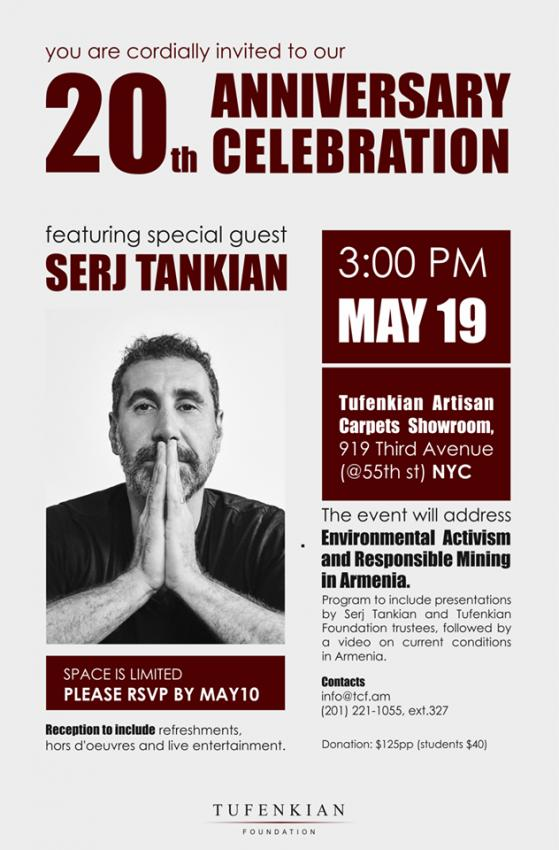 Anniversary Event with Special Guest Serj Tankian
