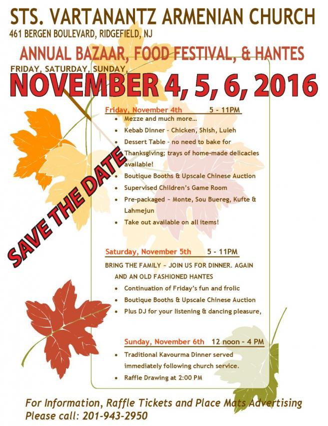 Sts. Vartanantz Church Anual  Bazaar and Food Festival, November 4-6