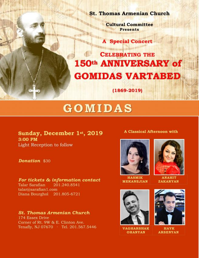 St. Thomas Cultural Committee Celebrates Gomidas Vartabed's 150th Anniversary