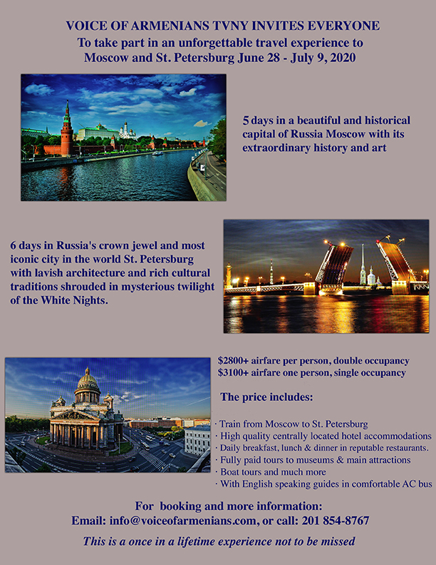 Voice Of Armenians TVNY tour to Moscow and St. Petersburg 2020