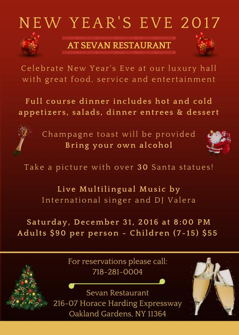 New Year's Eve Party at Sevan Restaurant